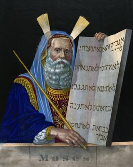 OLD TESTAMENT: MOSES. Portrait of Moses holding the Ten Commandments