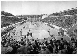 OLYMPIC GAMES, 1896. Spyridon Louis winning the marathon race in the first modern