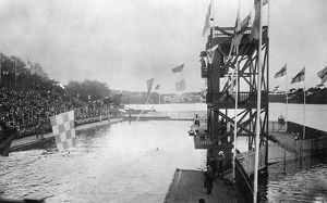 OLYMPIC GAMES, 1912. The 100 meter swim event at the 5th Olympic Games, held in Stockholm