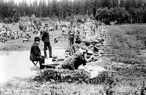 OLYMPIC GAMES, 1912. Army rifle shooting event at the fifth Olympic Games, held in Stockholm