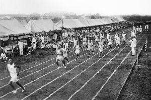 OLYMPIC GAMES, 1912. Track and field trials during the fifth Olympic Games, held in Stockholm