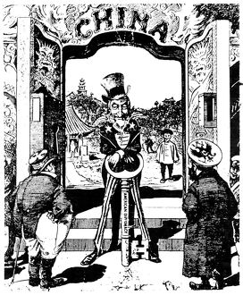 OPEN DOOR CARTOON, 1900. An American cartoon of 1900 showing Uncle Sam opening China
