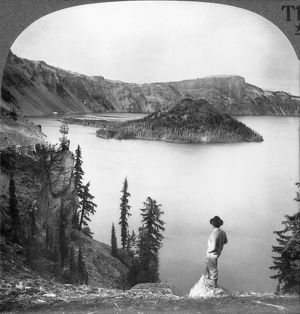 OREGON: CRATER LAKE. A view of Crater Lake, including the peak known as Wizard's Island. Photographed c1920.