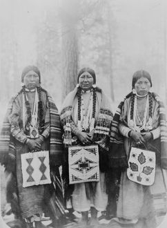 OREGON: INDIAN RESERVATION. Three Native American women on the Warm Springs Indian