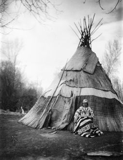 OREGON: NATIVE AMERICAN. Edna Kash Kash, a Yakima or Umatilla woman, in front of