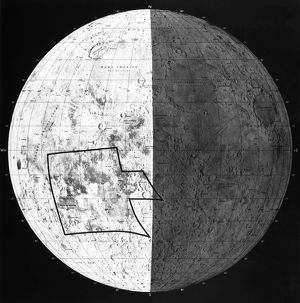 Outlined in black is the area of the moon, approximately 500,000 square miles, photographed