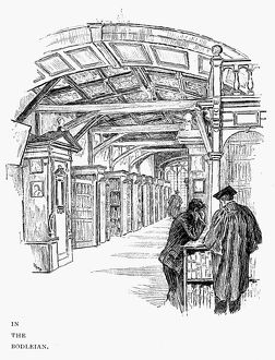 OXFORD: BODLEIAN LIBRARY. Drawing, c1890, by Ernest Stamp