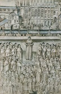OXFORD COLLEGE, 1453. Faculty and students of New College, Oxford, depicted in