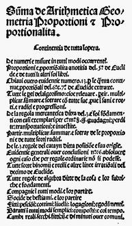 PACIOLI: TEXTBOOK, 1494. Part of the title page of Fra Luca Pacioli's 'Summa