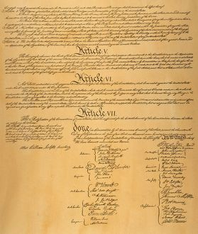 Page four of the Constitution of the United States of America, 1787.