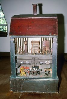 Painted pine dollhouse manufactured for the Homans family of Boston, Massachusetts, 1744.
