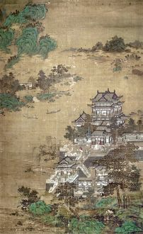 A palace of the T'ang Dynasty beside a lake. Painted silk hanging scroll, Yuan Dynasty