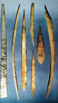 PALEOLITHIC SPEARS. Various paleolithic spears made from bone or antler, ranging from c35,000 B