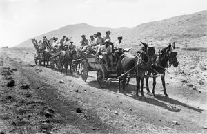 PALESTINE COLONISTS, 1920. Jewish colonists en route to a settlement in Palestine, 1920.