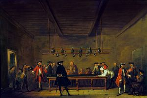 PARIS: BILLIARDS, 1725. A public billiards room in Paris attended by members of the bourgeoisie