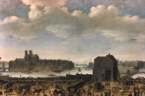 PARIS, c1646. La Cite and Ile Saint-Louis seen from Quai de la Tournelle. Canvas