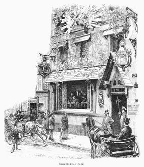 PARIS: CAFE, 1889. /nNeomedieval cafe in Paris, France. Line engraving, 1889.