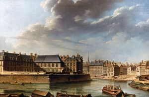 PARIS: ILE SAINT-LOUIS. Eastern point of Ile Saint-Louis and l'hotel de Bretonvilliers
