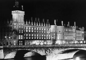 PARIS: LA CONCIERGERIE. Nighttime view of La Conciergerie, former royal palace and prison