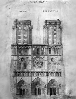 PARIS: NOTRE DAME, 1848. The western facade of Notre Dame cathedral in Paris, France