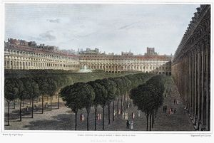 PARIS: PALAIS ROYAL, 1821. The Palais Royal in Paris, France. Steel engraving, English