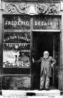 PARIS: RESTAURANT, 1890s. Frédéric Delair at the entrance to his restaurant