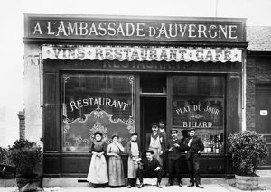 PARIS: RESTAURANT, c1900. The Auvergnats (people from Auvergne) in front of their restaurant