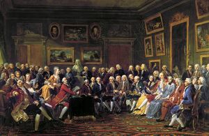 PARIS: SALON, 1755. A group of artists and writers listen to the first reading of