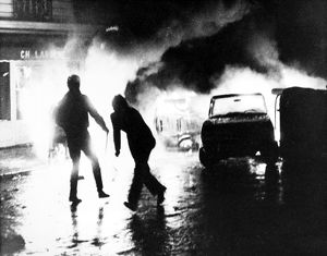 PARIS STUDENT REVOLT, 1968. A barricade of burning cars put up by students in the