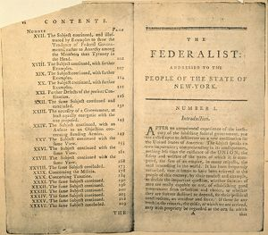 Partial table of contents and first page of the first edition of The Federalist