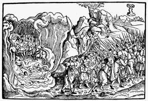 PASSAGE OF THE RED SEA. Moses leading the Israelites across the Red Sea. German woodcut