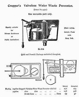 Patent drawing for Thomas Crapper's sanitary innovation, the 'Water Waste Preventer