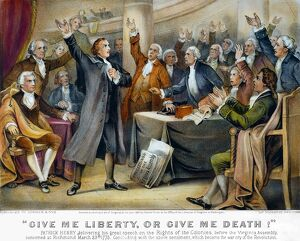 currier ives/patrick henry 1775 give liberty death orator
