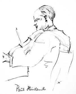 PAUL HINDEMITH (1895-1963). German violinist and composer. Pencil drawing, c1935