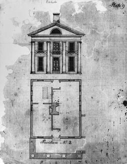Pavilion designed to house professors at the University of Virginia. Drawing by Cornelia Jefferson Randolph, early 19th century.
