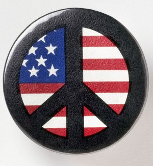 PEACE BUTTON, c1971. American peace button, c1971, worn by opponents of the Vietnam War.