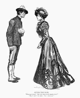 Pen and ink drawing, 1898, by Charles Dana Gibson.