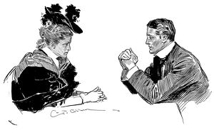Pen and ink drawing by Charles Dana Gibson, 1896.