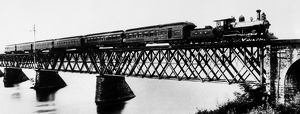 PENNSYLVANIA LIMITED, 1892. Crossing the bridge over the Susquehanna River at Rockville