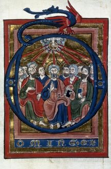 PENTECOST. Historiated initial D from a German psalter, early 13th century
