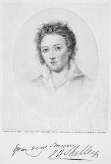 PERCY BYSSHE SHELLEY (1792-1822). English poet. Wood engraving, late 19th century