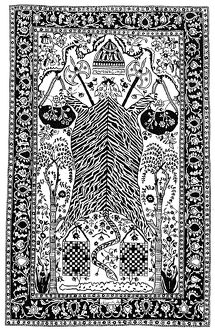 PERSIAN DERVISH CARPET. Rendering of a 17th-century Persian dervish carpet with