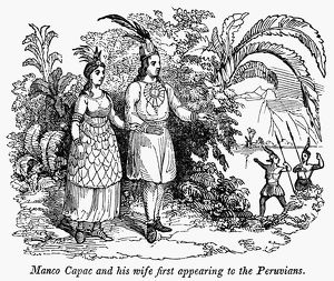 PERU: INCA RULER AND WIFE. /nIncan Emperor Manco Capac and his wife, Ocllo, first appearing to the Peruvians. Wood engraving, American, 1848.