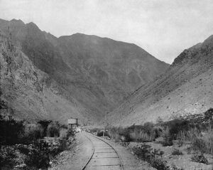 PERU: RAILROAD, c1890. A view of the Oroya Railroad in Peru, South America. Photograph