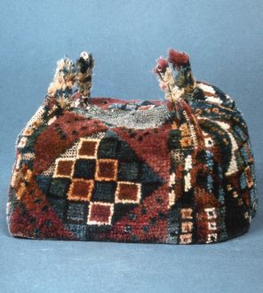 PERU: WOVEN CAP. Native American woven cloth cap from Coastal Tiahuanaco, Peru.