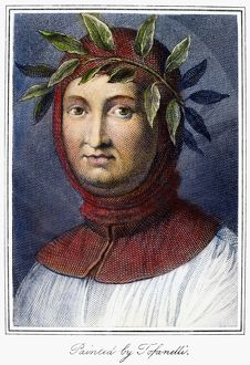 PETRARCH (1304-1374). Italian poet. Line engraving, English, 1822, after a painting