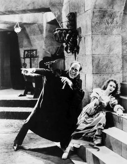 PHANTOM OF THE OPERA, 1925. Lon Chaney and Mary Philbin in a scene from the film.
