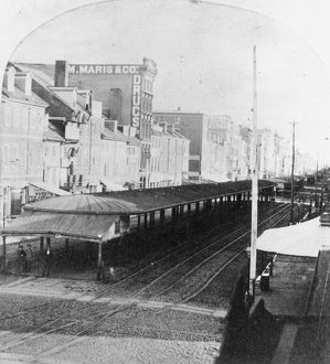 PHILADELPHIA, 1856. View of the street car station from Independence Hall, looking northwest