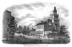 PHILADELPHIA STATE HOUSE. Independence Hall (State House) as it appeared in 1776