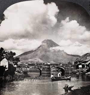 PHILIPPINES: VOLCANO. The Mayon volcano, Luzon, Philippines. Stereograph, c1900.